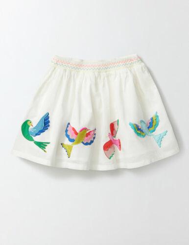 NWT 3//4 5//6 6//7  Mini Boden Tropical Birds Applique White Skirt Lined