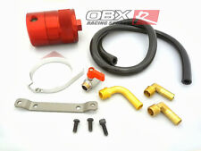 """OBX Air Oil Separator Universal 3.0"""" OD, 4"""" Height, 3/8"""" Fitting Red"""