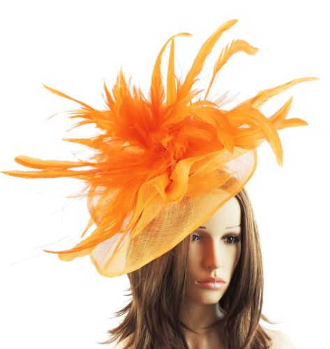 Arancio FASCINATOR CON CAPPELLO per matrimoni / ASCOT / Proms con Cerchietto V1