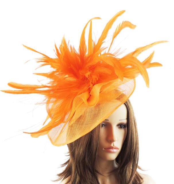 Orange Fascinator Hat For Weddings//Ascot//Proms With Headband V1