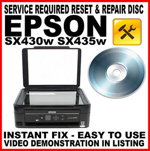 epson stylus sx430w sx435w printer service required fault reset fault fix disc ebay. Black Bedroom Furniture Sets. Home Design Ideas