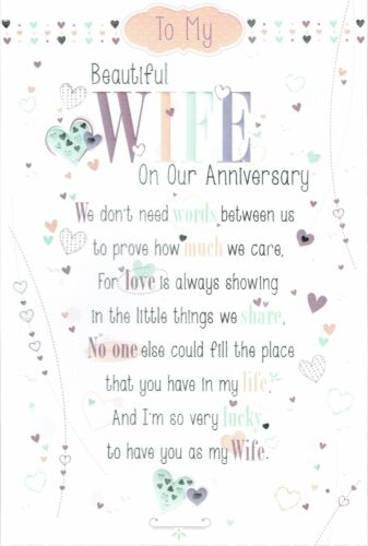 with Pop-Up sentiment and Fabulous words To My Beautiful WIFE Anniversary Card