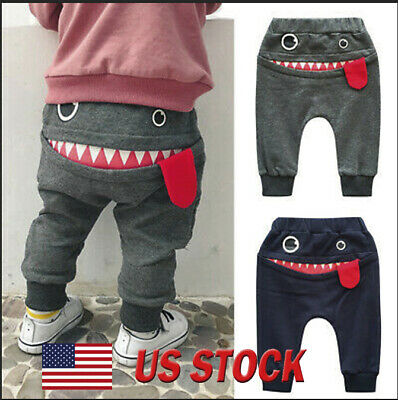 Boys Girl Kids Cartoon Shark Tongue Harem Pants Trousers All Seasons Baby Pants