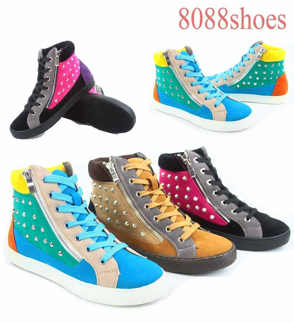 Wanted Women's  Flat High Top Lace Up Fashion Sneaker Shoes Size 5.5 - 10 NEW