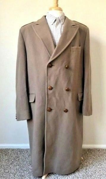 Vintage English Wool British Trench Coat Men's 46L Long Leather Buttons Tan Peak