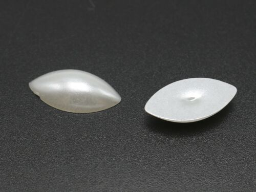 200 Pure White Acrylic Horse Eye Half Pearl Bead 7X15mm Flatback Cabochon