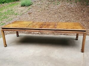 Mid-Century-Modern-MCM-Chinoiserie-Burl-Wood-Dining-Room-Table-108in-2-Leaves