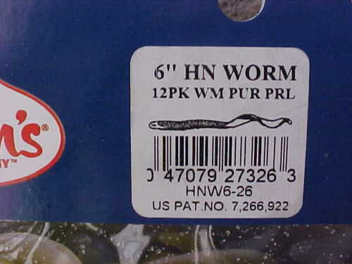 """Mann/'s 12 pack of 6/"""" Hard Nose Worms with Unique Tail HNW6-26 WATERMELON PUR PRL"""