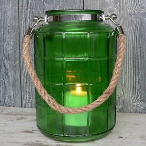 Xl Windlicht Glas Grün Maritim Mit Kordel 27cm Groß Laterne Garten