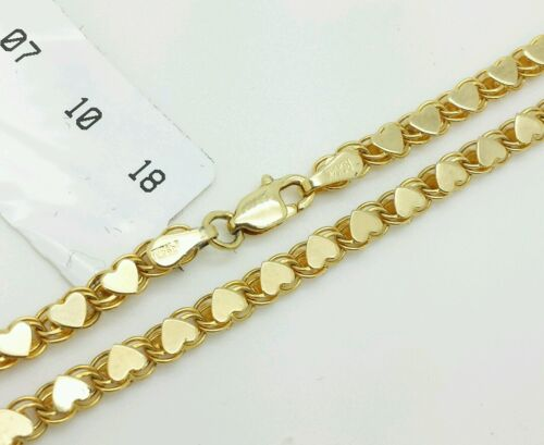 """14k Solid Yellow Gold Heart Link Anklet Chain 8.5/"""" 9/"""" 9.5/"""" 10/"""" 3.3mm Women"""