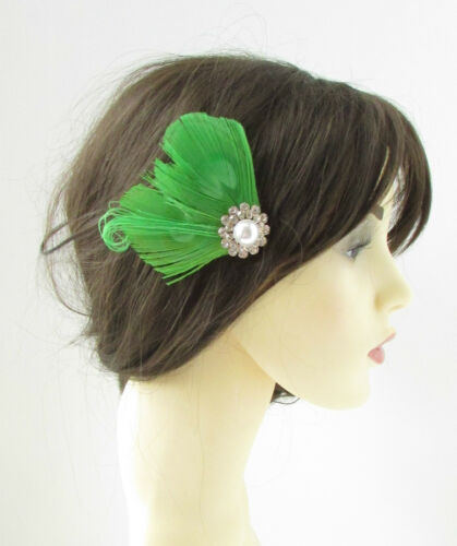 Lime Green White Silver Peacock Feather Fascinator Hair Clip Vintage 1920s 146