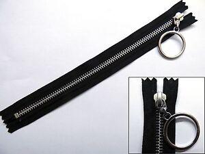 zip zipper hanging ring puller closed end metal ykk black ebay