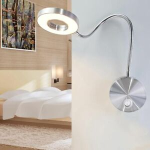 Details About Modern Led Lamps Wall Mounted Bulb Lights Flexible Arm Home Shade Less Lighting
