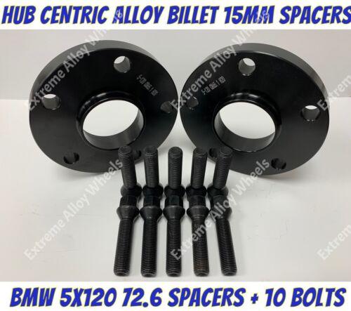 Espaciadores Rueda Aleación Negro 15mm BMW E36 E46 E90 E91 E92 E93 M12x1.5 5x120 Pernos