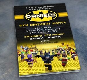Details About Personalised Lego Batman Invitations Birthday Party Invites
