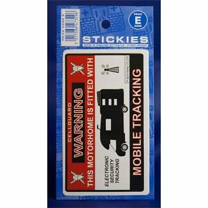 Motorhome Warning Sticker - This Has Mobile Tracking Sign Notice Caravan Travel