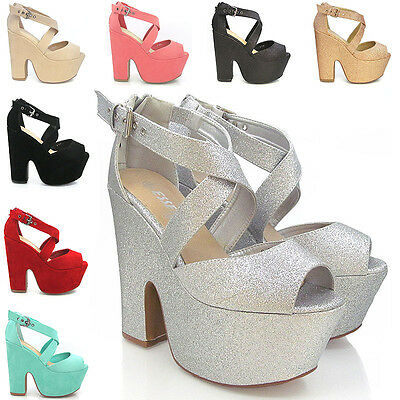 NEW WOMENS PLATFORM DEMI WEDGE HIGH HEELS PEEP TOE WOMENS SANDALS SHOE SIZE 3-8