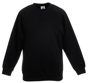 Black Fruit of the Loom Childrens//Kids Unisex Poly-Cotton Sweat Jacket 12-13