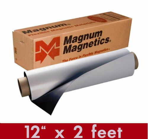 "Magnum Mag 12/"" width x 2 Ft ROLL 30 Mil Crafts Blank Magnetic Sign Sheet Cars"