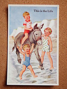 R-amp-L-Postcard-Valentine-039-s-Donkey-Series-Rowles-No-1814-1950s-Children