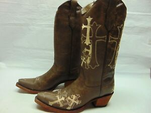 1a952e2347a Details about Corral Circle G Women's 8 Brown Leather Cross Snip Toe  Western Ride Boots L5038