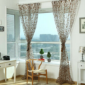 1PCS Floral Tulle Voile Window Curtain Drape Panel Sheer Scarf Valances Divider
