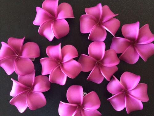 """3/"""" Hawaiian Plumeria Pointed  Foam Flower Hair Clip  Purple"""