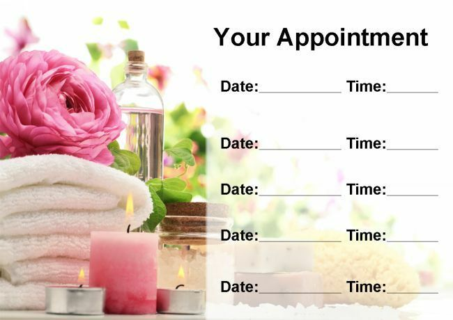 Beauty Spa Hair Massage Treatment Salon Personalised Appointment Cards