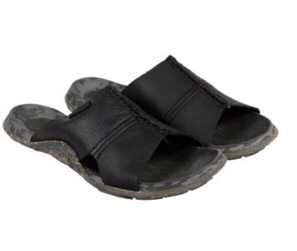 MENS CUSHE ARGOS PREMIUM BLACK LEATHER SLIP ON SLIDES SANDAL SIZE 9 M