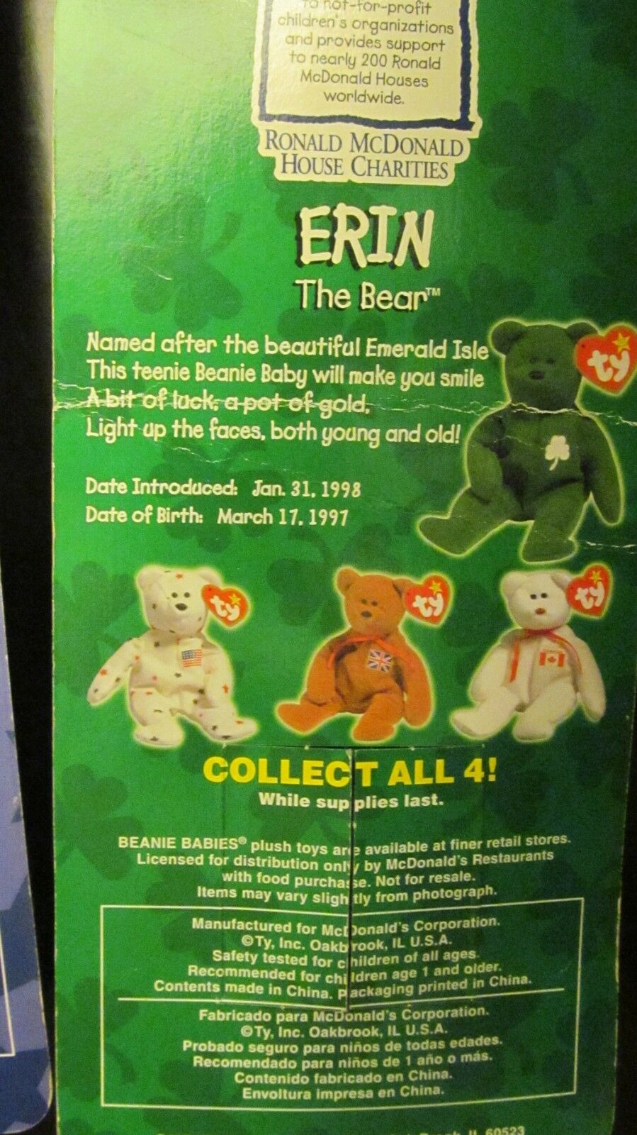 TY BEANIE BEANIE BEANIE BABIES - MCDONALDS SET OF 4 - MAPLE   GLORY   ERIN   BRITANNIA 1999 6a097c