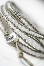 Tutti & Co. Jewellery Silver Wrap Leather Strand & beads cuff Bracelet, gift bag