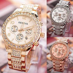 Reloj-Pulsera-Cuarzo-Acero-Inoxidable-Cristal-Fecha-Lujo-para-Mujer