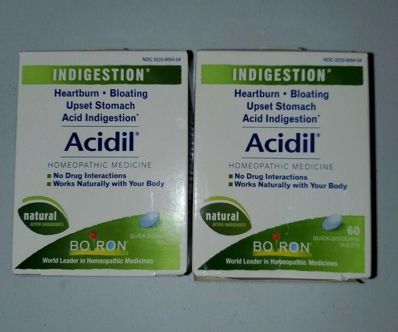 Acidil Homeopathic Indigestion Medicine for Heartburn & Acid Reflux 60 ct x 2 1