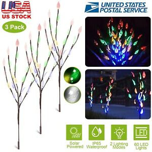 Set Of 3 Ornamental Solar Powered Warm White Led Branch Tree Lights Outdoor