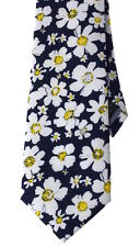 """NEW Men's Casual Necktie Summer Floral Daisy Chambray Tie  3"""" W Navy Liberty"""