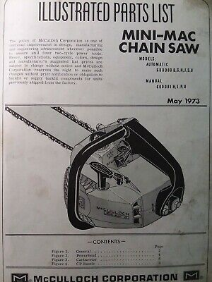 MCCULLOCH CHAIN SAW MODEL 55 ILLUSTRATED PARTS LIST CATALOG 2 STROKE ENGINE 1957
