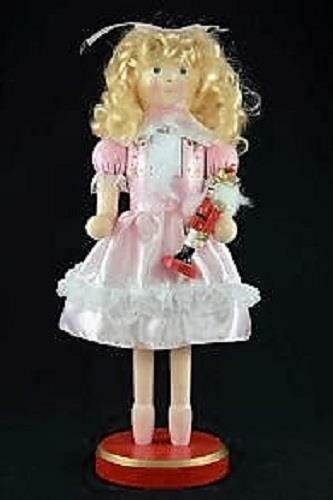 "14/"" Clara from Nutcracker Suite Holding Mini Nutcracker 14402 Pink Dress Blonde"