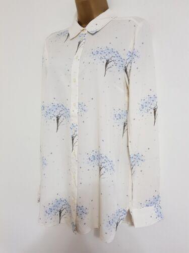 NEW WAREHOUSE RRP £32.00 Star Tree Print Shirt Blouse Top Ivory White Blue