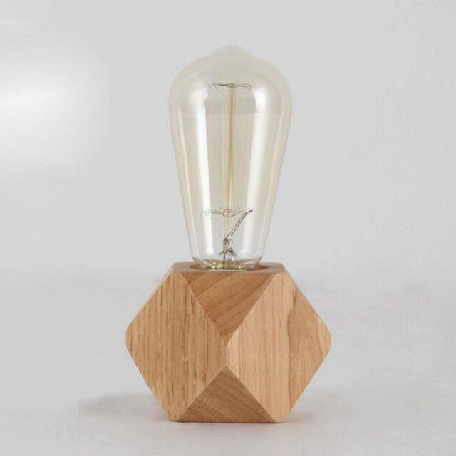 1X(Lampada da tavolo moderna E27 Lampada da scrivania in legno Lampada da c HK