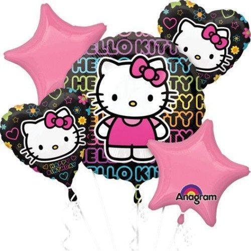anagram hello kitty happy birthday balloon bouquet 5 balloons pink