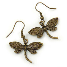 Bronze Tone Dragonfly Drop Earrings - 35mm L