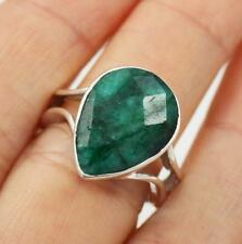 Unusual Solid 925 Sterling Silver, Green Emerald Ring jewellery,  Q1/2,  8.5
