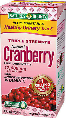 Natures Bounty Cranberry with Vitamin C 25200 mg Softgels Triple Strength 60ct