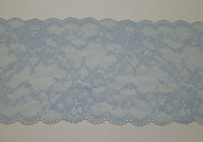 "7""*1yard Stretch Embroidered Lace Trim Sewing/Craft ~ Light Blue~Silver"