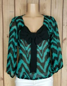 A-BYER-Womens-Size-Large-3-4-Sleeve-Shirt-Bow-Front-Chevron-Print-Sheer-Top