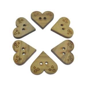 6 Madera Corazón En Relieve Corazones Amor LOVEHEART 2 Botones de costura de ojos 26mm