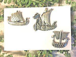3-pin-039-s-Drakar-bateau-Viking-argente