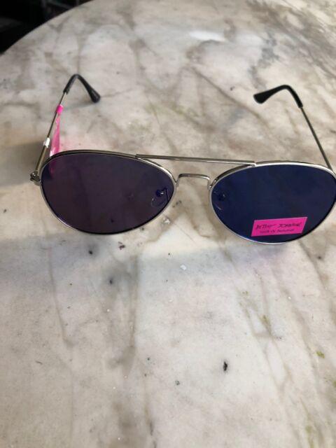 198b4904fe1 Betsey Johnson Sunglasses Aviator Pilot Silver Flat Lenses Blue Mirror