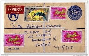 Nigeria-1967-Registered-Cover-to-England-with-Multiple-Stamps-X914