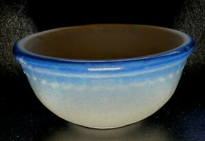 Antique-Vintage-Stoneware-Small-Blue-Bowl-with-Scallops-5-1-2-034-Diameter